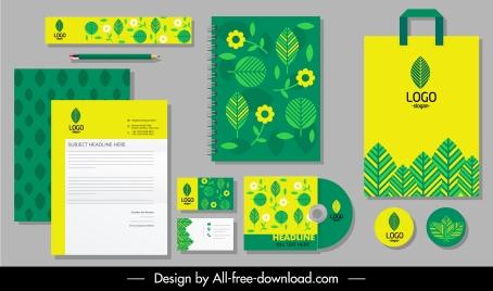 brand identity sets green yellow flat leaf flora decor