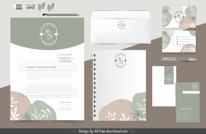 brand identity templates colorful classic flat handdrawn leaves