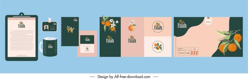 brand identity templates orange sketch elegant classical design