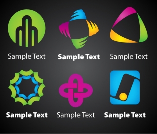 brand logo design elements with abstract colorful shapes