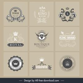 brand logotypes retro royal theme calligraphic decor