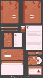 branding identity set brown dark flat abstract shape