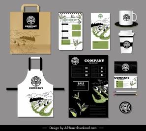 branding identity set countryside field scene decor