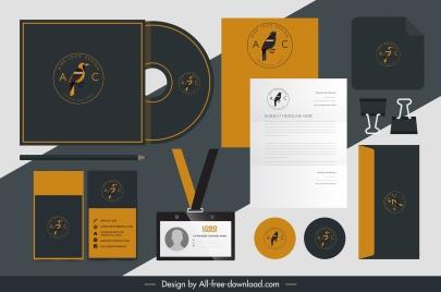 branding identity sets bird logotype decor dark design