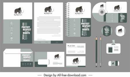 branding identity sets black white elephant decor