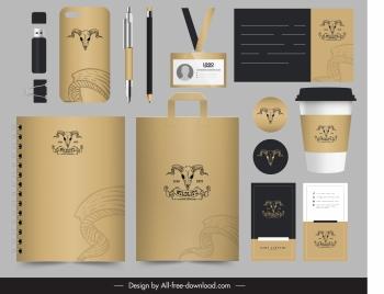 branding identity sets classic bull skull sketch