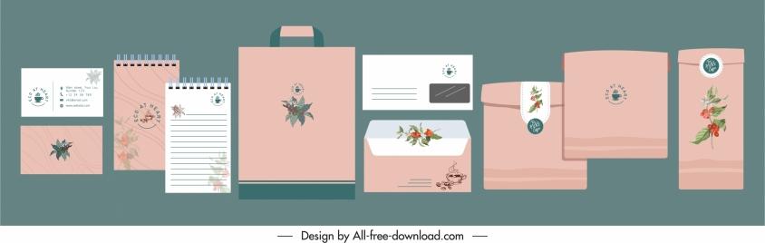 branding identity sets classic pink decor nature elements