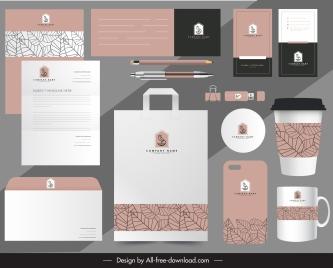 branding identity sets classical handdrawn flat leaves decor