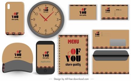 branding identity sets dark classic flat texts decor