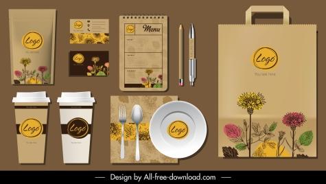 branding identity sets elegant classic handdrawn botany decor