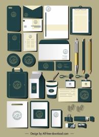 branding identity sets elegant contrast flat classic logo