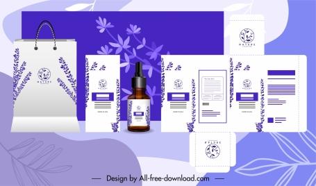 branding identity sets elegant violet plants decor