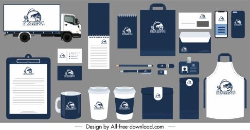 branding identity sets fishing logotype decor