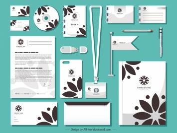 branding identity sets flat petals decor