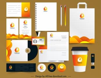 branding identity sets phoenix logotype sketch