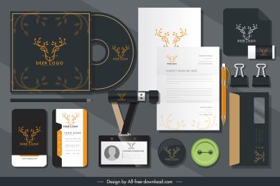 branding identity sets reindeer head logo sketch