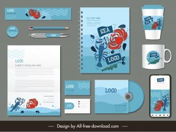 branding identity sets sea creatures decor