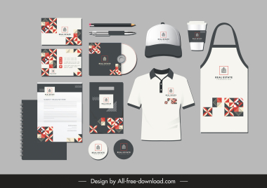 branding identity sets symmetrical pattern elements decor