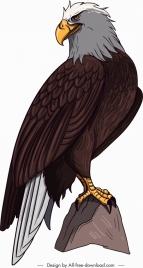 brave eagle icon perching gesture cartoon sketch