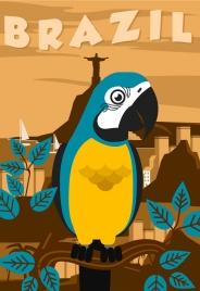 brazil advertising banner parrot landscape decor closeup design