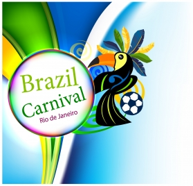 brazil carnival postcard flyer background design parrot