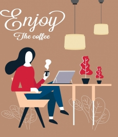 break time banner woman drinking coffee icon