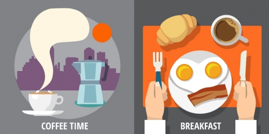 breakfast and coffee time design with colored symbols