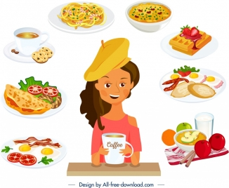 breakfast background young girl cuisines icons decor