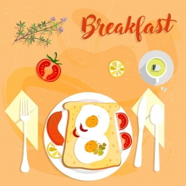 breakfast banner food icon multicolored design