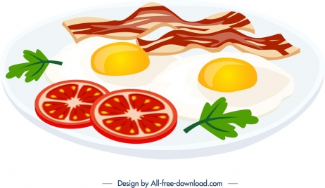 breakfast cuisine template bacon egg tomato icons