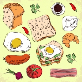 breakfast design elements various colored icons handdrawn outline
