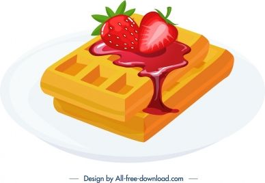 breakfast dessert icon chocolate strawberry jam melting decor