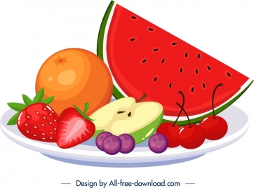 breakfast dessert icon fresh fruits decor colorful design