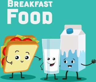 breakfast food advertising sandwich milk icon stylized design