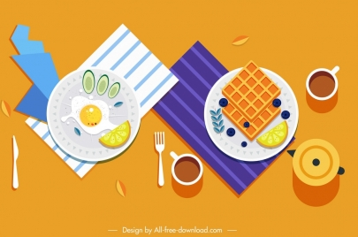 breakfast food background classical colorful flat design