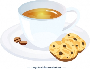 breakfast icon coffee cup biscuit decor bright 3d