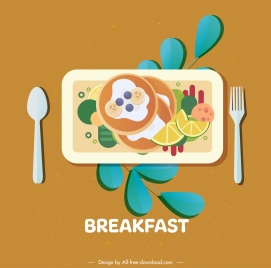 breakfast icon colorful classical flat design
