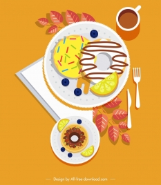 breakfast painting colorful food dishware icons decor