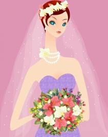 bride holding flowers bouquet drawing cute cartoon design