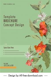 brochure cover template elegant botanical plants sketch
