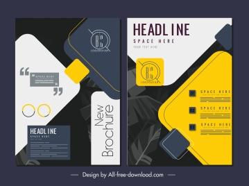 brochure cover template elegant colorful dark leaves decor