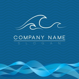 brochure cover template waves theme blue curves decoration
