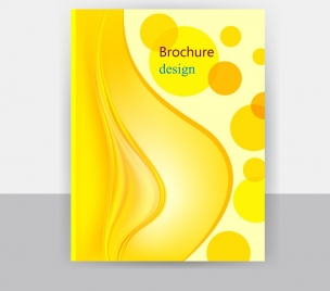 brochure cover template yellow design circles curved lines