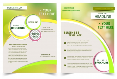 brochure design with bokeh modern style