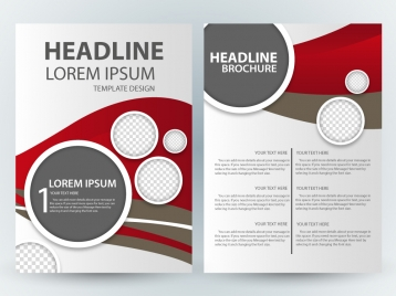 brochure design with circles and bright background illustration