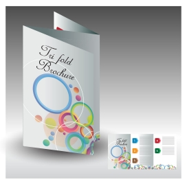 brochure design with circles background trifold illustration
