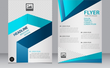 brochure flyer template 3d modern blue checkered ornament