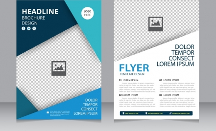 brochure flyer template bright modern checkered background