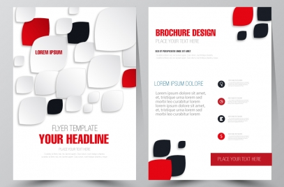 brochure flyer template design with colored rounded icons