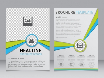 brochure template 3d blue green lines checkered backdrop